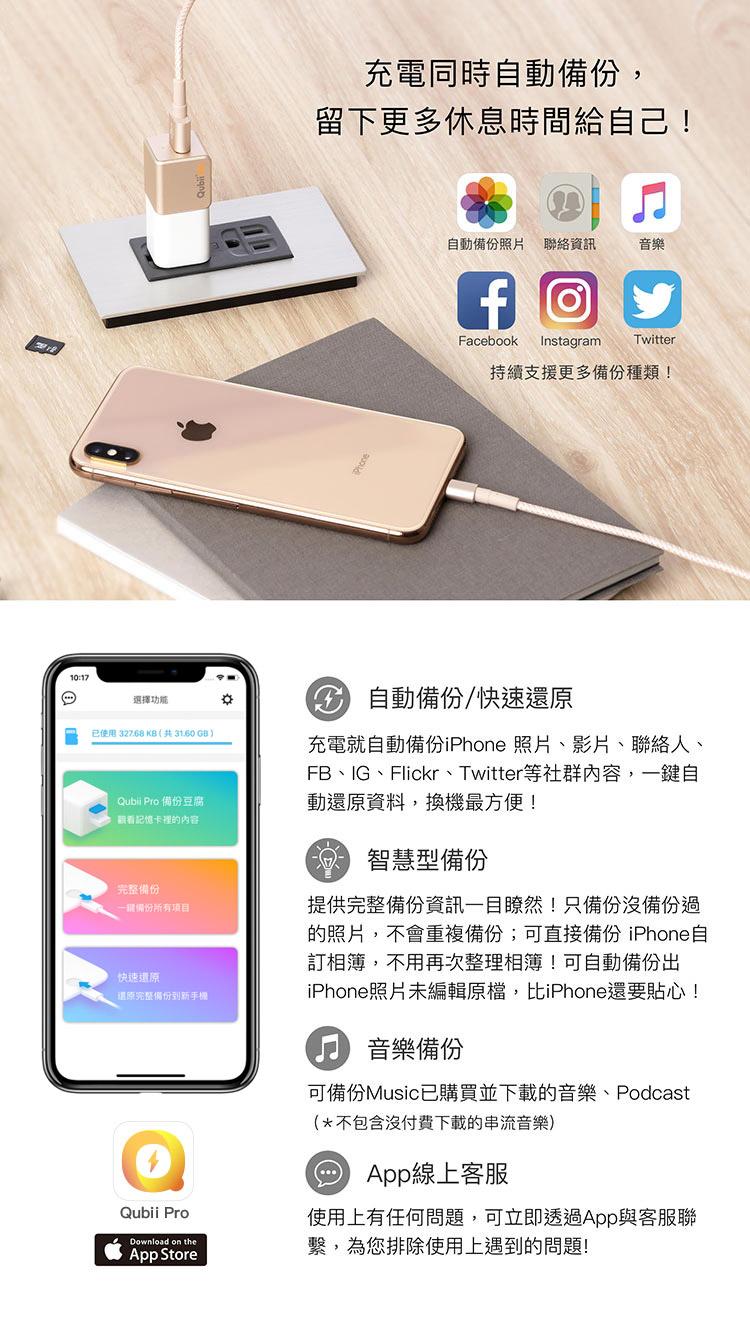 Qubii Pro備份豆腐自動備份iPhone
